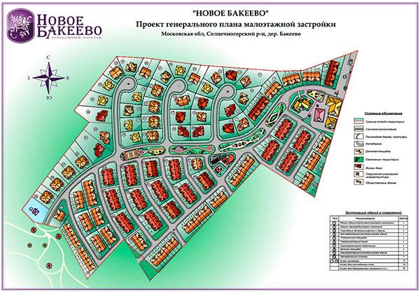 Генплан застройки коттеджного поселка Новое Бакеево